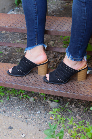 Black Perforated Peep Toe Bootie