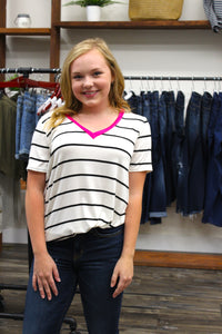 Stripe tee with neon neckline
