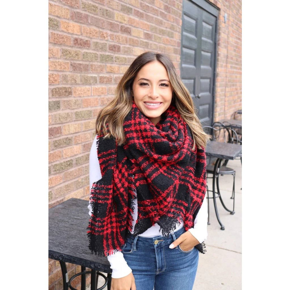 Fuzzy red and black plaid blanket scarf