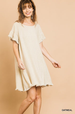 Linen Blend Short Dress