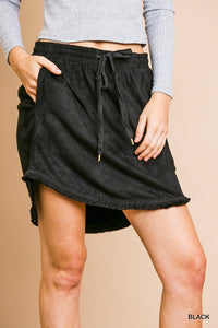 Suede Scoop Skirt