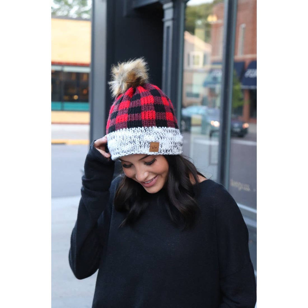 Load image into Gallery viewer, Red buffalo plaid hat
