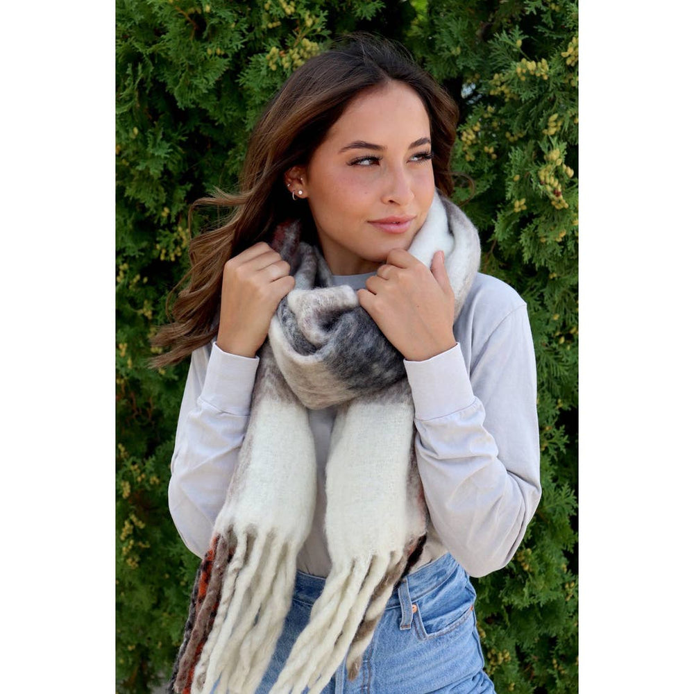 Soft long plaid scarf with fringe