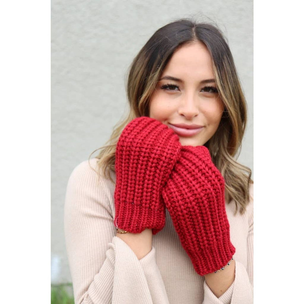 Red Knit Mittens