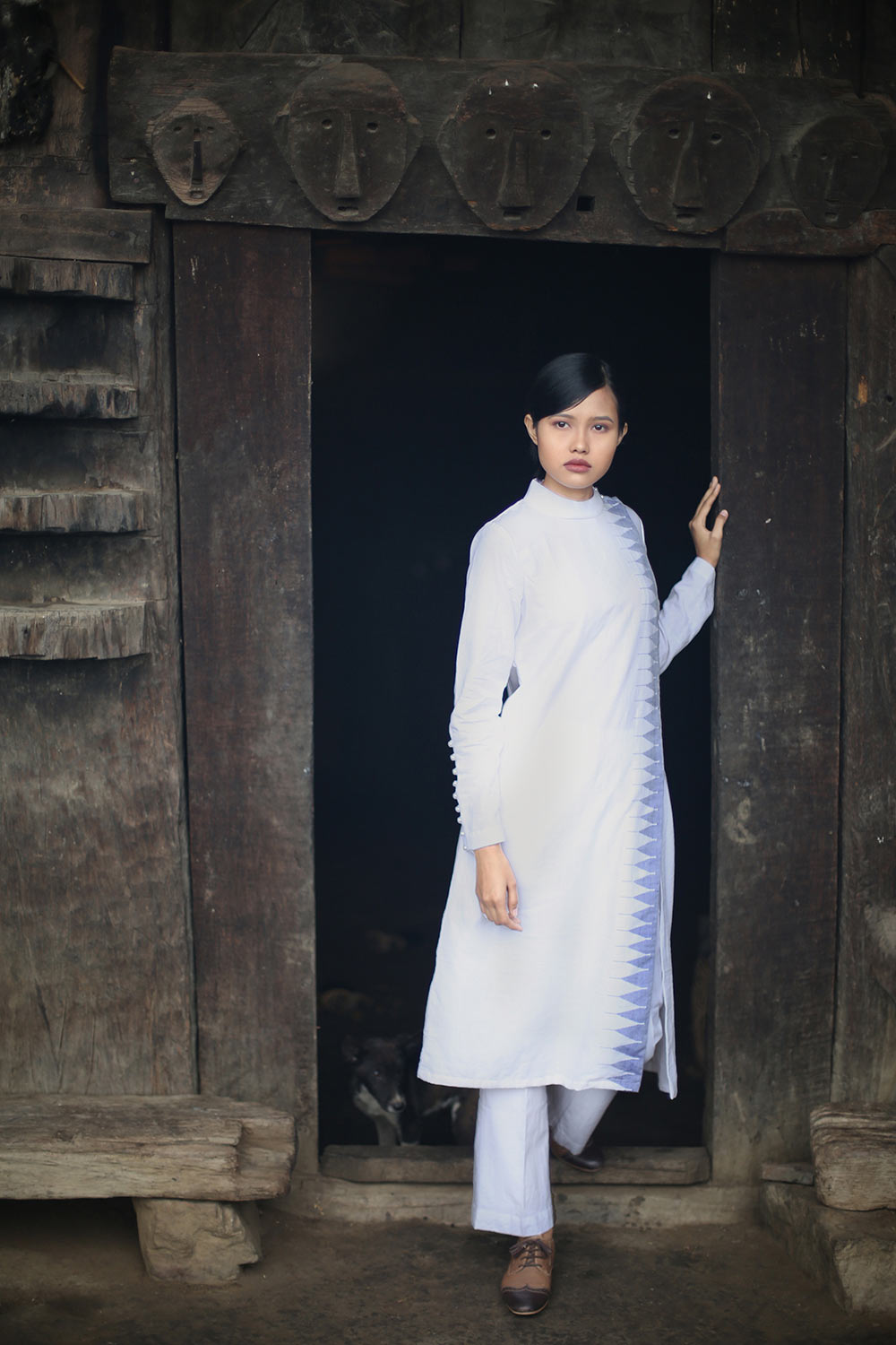 Handwoven Temple border design Deep pockets Tunic dress, designed by Khumanthem Atelier