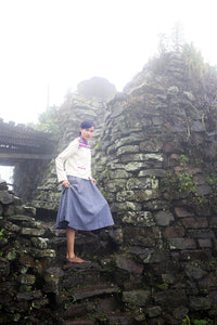 Model wearing Handwoven Short coat with traditional Chothe weave of Manipur, designed by Khumanthem Atelier