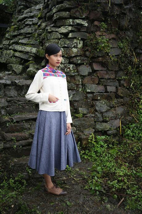 Handwoven Short coat with traditional Chothe weave of Manipur, designed by Khumanthem Atelier