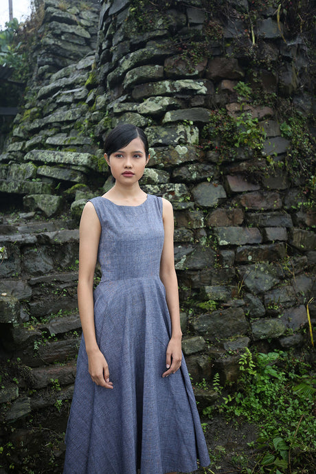 Handwoven Vintage circle dress with pockets, designed by Khumanthem Atelier