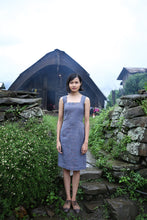 Load image into Gallery viewer, Handwoven Square neckfitted midi dress, designed by Khumanthem Atelier
