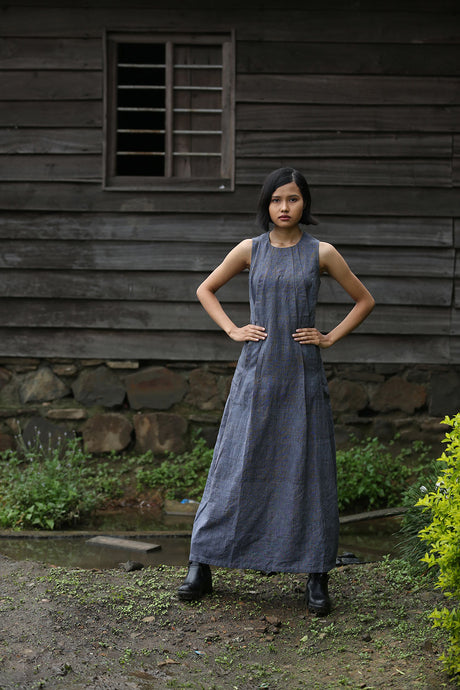 Handwoven Pleated maxi dress, designed by Khumanthem Atelier