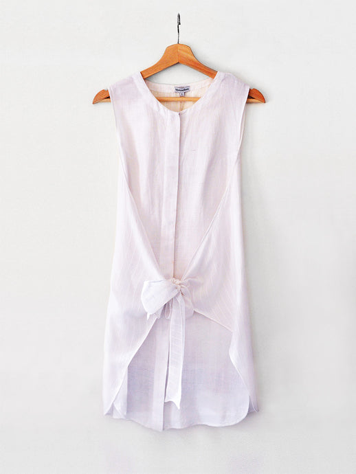 Handwoven Sleeveless shirt with tie-up, designed Khumanthem Atelier
