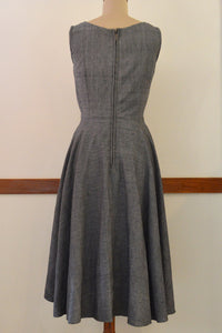 Close up back view of Handwoven Vintage circle dress with pockets, designed by Khumanthem Atelier