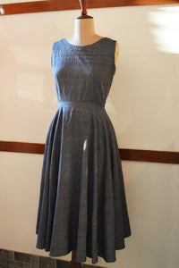 Close up side view of Handwoven Vintage circle dress with pockets, designed by Khumanthem Atelier