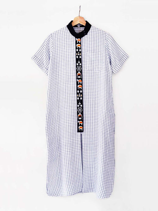 Checked tunic embroidered with traditional Shami Lanmi motif