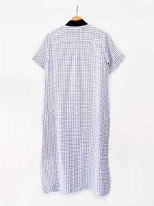 Back view of hanger shoot of Handwoven Straight Checkered Tunic Dress (Shamee-Lanmee Motif), designed Khumanthem Atelier