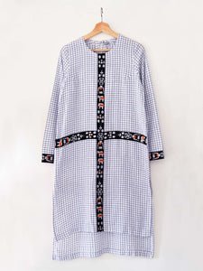 Checkered tunic with embroidered traditional Shami Lanmi motif