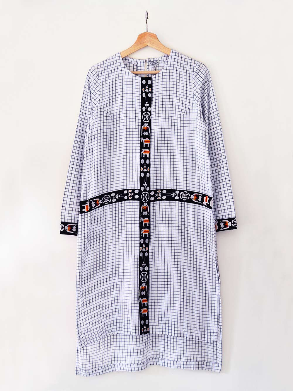 Checkered Tunic Dress (Shamee- Lanmee Motif) made from 100% pure cotton designed by Khumanthem Atelier