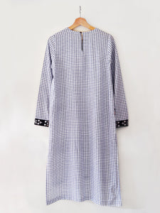 Front view of Checkered Tunic Dress (Shamee- Lanmee Motif) made from 100% pure cotton designed by Khumanthem Atelier