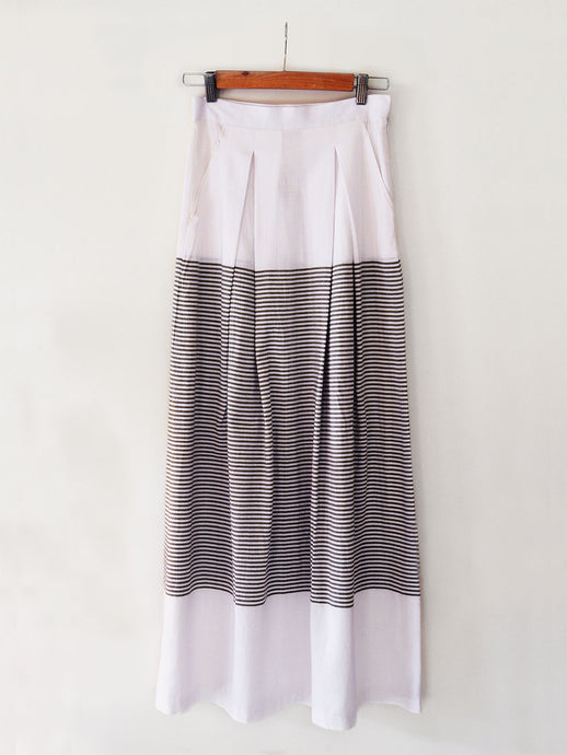 white cotton Pleated skirt with stripes, designed by Khumanthem Atelier