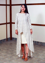 Load image into Gallery viewer, Handwoven high low checked tunic dress, full sleeves designed by Khumanthem Atelier