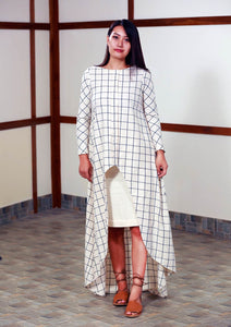 Handwoven high low checked tunic dress, full sleeves designed by Khumanthem Atelier