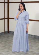 Load image into Gallery viewer, Handwoven cotton long maxi dress full sleeves with cuff, designed by Khumanthem Atelier