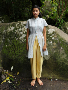 Model wearing Handwoven Collared Gathered Cotton Top, designed by Khumanthem Atelier
