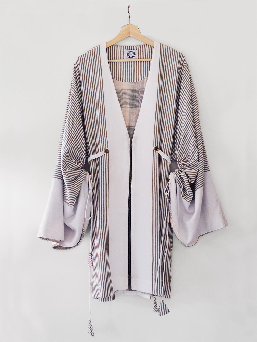 Handwoven Kimono Sleeve Coat, made from cotton, designed by Khumanthem Atelier