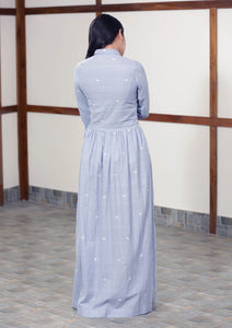 Back view of Handwoven cotton long maxi dress full sleeves with cuff, designed by Khumanthem Atelier