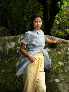 Handwoven Collared Gathered Cotton Top, designed by Khumanthem Atelier