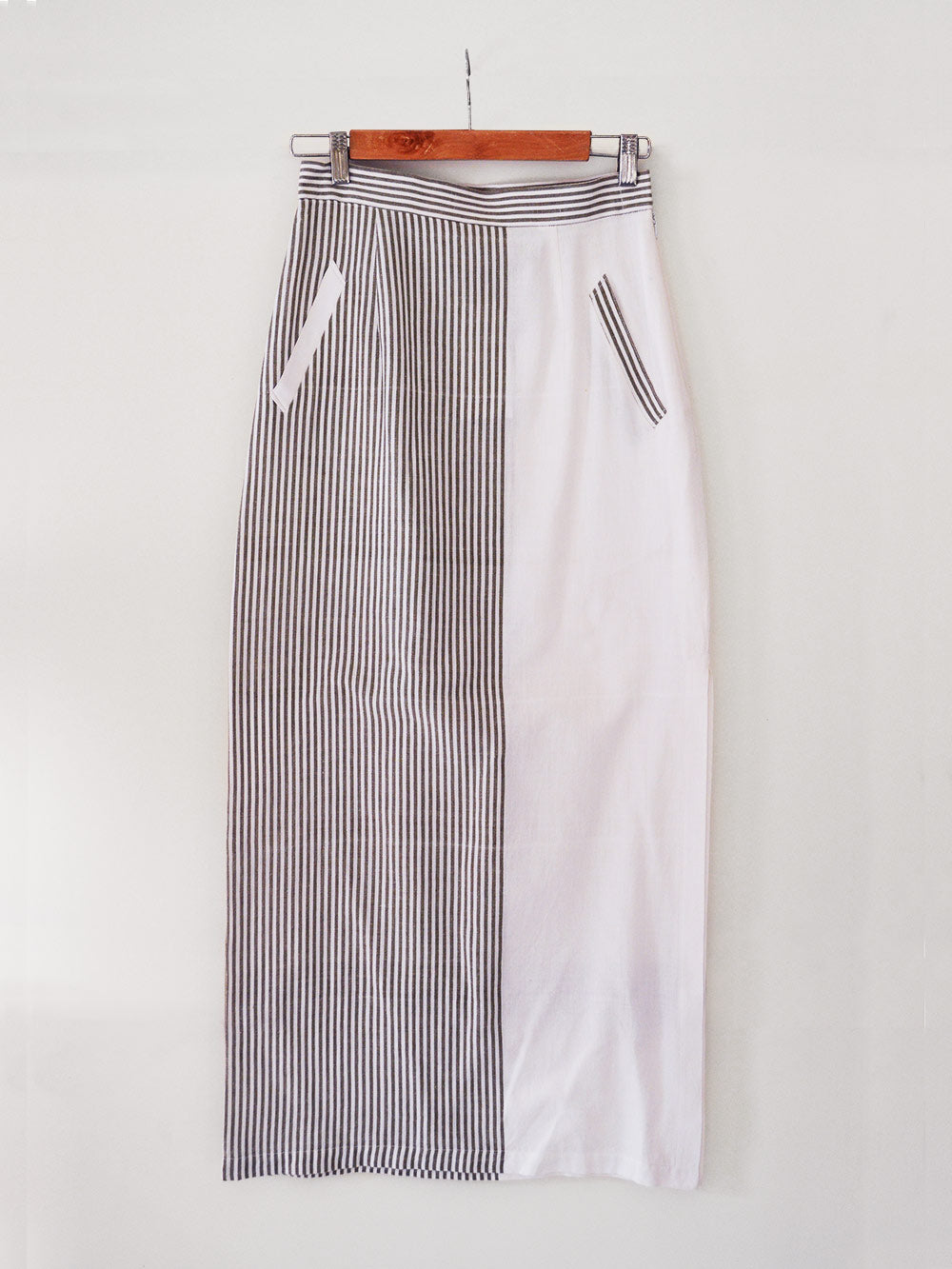 Striped Maxi Skirt with slit on the side made from 100% pure handwoven cotton, designed by Khumanthem Atelier