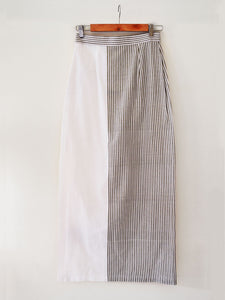 Back view of Striped Maxi Skirt with slit on the side made from 100% pure handwoven cotton, designed by Khumanthem Atelier