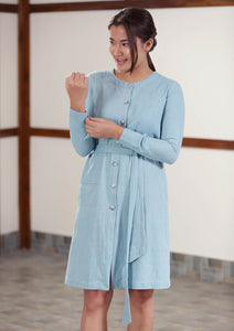handwoven cotton denim blue Twill Weave Dress full sleeves knee length, designed by Khumanthem Atelier
