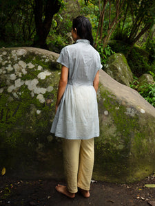 Model wearing Handwoven Collared Gathered Cotton Top, designed by Khumanthem Atelier, back view