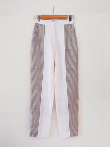 Back view of Hand woven Straight Pants with white and olive stripes, 100% cotton, designed by Khumanthem Atelier