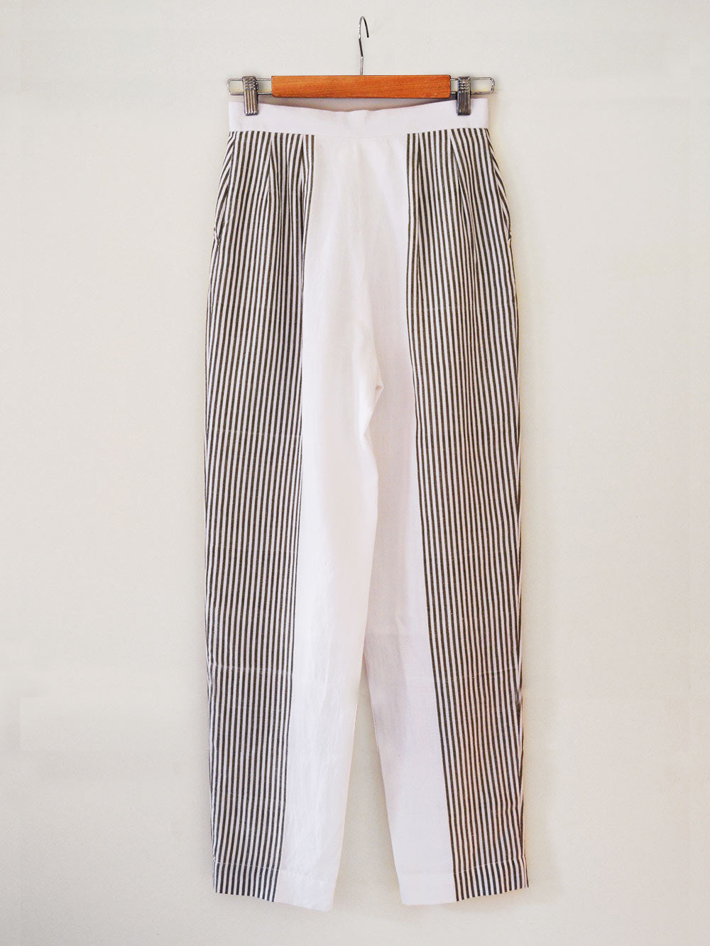 Hand woven Straight Pants with white and olive stripes, 100% cotton, designed by Khumanthem Atelier