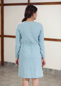Back view of handwoven cotton denim blue Twill Weave Dress full sleeves knee length, designed by Khumanthem Atelier