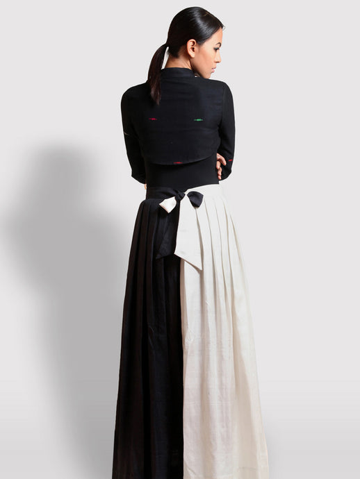 Ivory Ebony silk skirt handwoven with 100% pure mulberry silk designed by Khumanthem Atelier