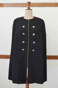 Close front view of Handwoven Military Style Cape coat, designed by Khumanthem Atelier