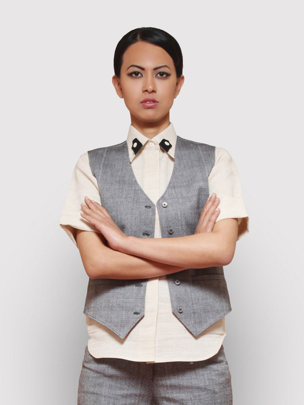 Handwoven Silk shirt with contrast tab collar designed by Khumanthem Atelier