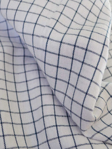 Close up look of the material of Front view of Checkered Tunic Dress (Shamee- Lanmee Motif) made from 100% pure cotton designed by Khumanthem Atelier