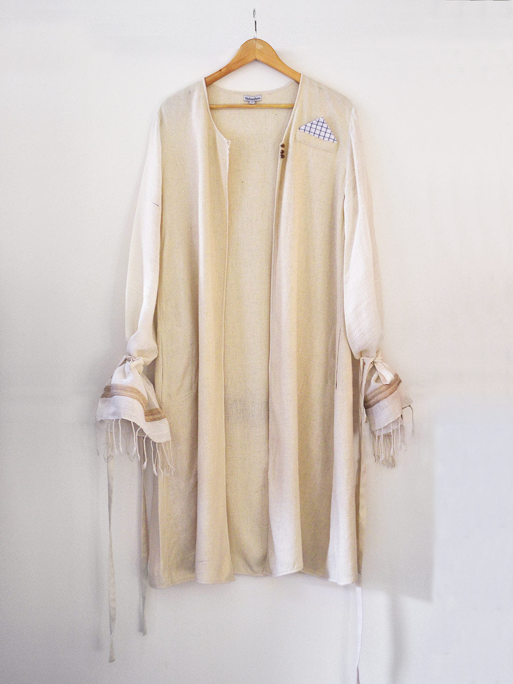off white handwoven silk coat, designed by Khumanthem Atelier
