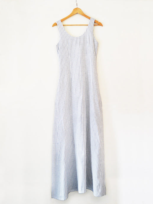 Handwoven white Checked flared maxi dress, designed by Khumanthem Atelier