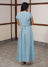 Load image into Gallery viewer, Back view of Handwoven cotton Reversible twill-weave kaftan dress with belt, designed by Khumanthem Atelier