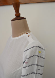 Close up view of the design pattern of Handwoven cotton full sleeves top with extra weft designed by Khumanthem Atelier