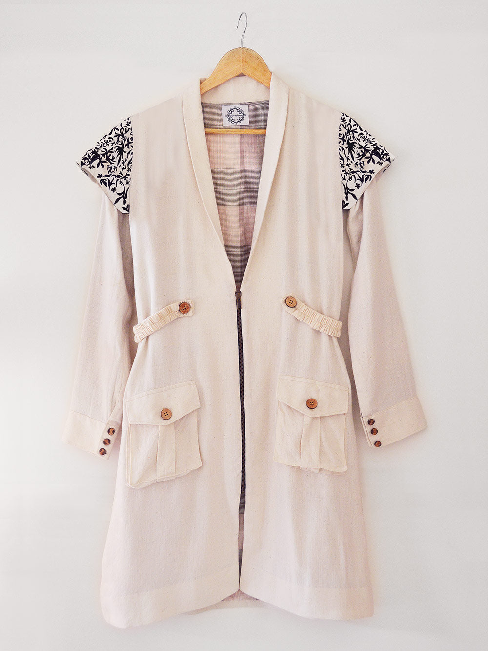 Handwoven Embroidered trench coat, unbleached white colour, designed by Khumanthem Atelier
