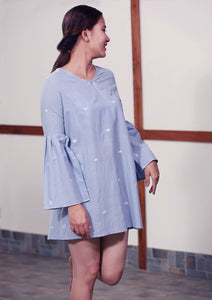 Handmade cotton tunic with patch work bell sleeves full length, designed by Khumanthem Atelier