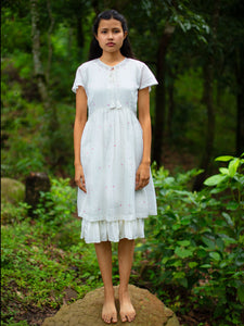 Model wearing Handmade Cotton Tunic Dress with sleeves, designed by Khumanthem Atelier, front view