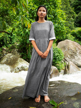 Load image into Gallery viewer, Drawstring Cotton Maxi Dress with Pockets, designed by Khumanthem Atelier