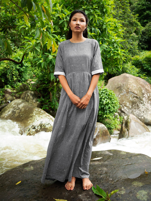 Drawstring Cotton Maxi Dress with Pockets, designed by Khumanthem Atelier